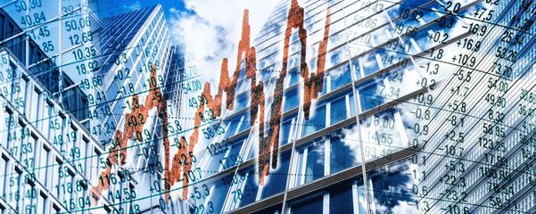 Wolkenkratzer und Finanzsymbolen