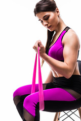 one caucasian woman exercising fitness resistance bands in isolated on white background © F8studio