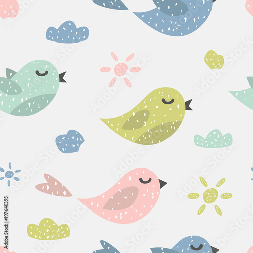 Cotton fabric Childish seamless pattern with cute birds. Creative texture for fabric