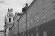 clock tower and wall black and white picture