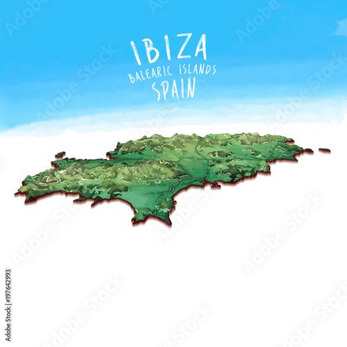 Modern Island Map of Ibiza, Spain