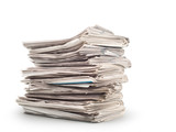 A stack of old newspapers isolated on white background - 197643157