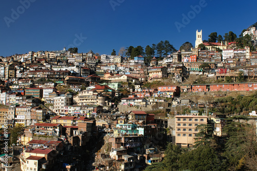 View on the Shimla Indian rest city, in the Himalaya mountains, India. Leisure centre in the Himalaya for newly-weds in India