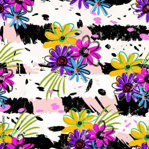 Aluminium Abstract met Penseelstreken floral seamless pattern background, with strokes and splashes