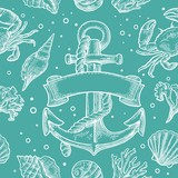 Seamless pattern sea shell, coral, crab and shrimp. Vector engraving vintage illustrations. Isolated on white background