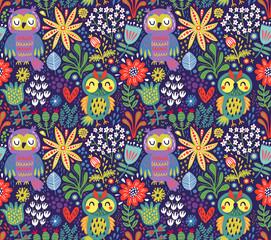 Seamless pattern with owls © Guz Anna