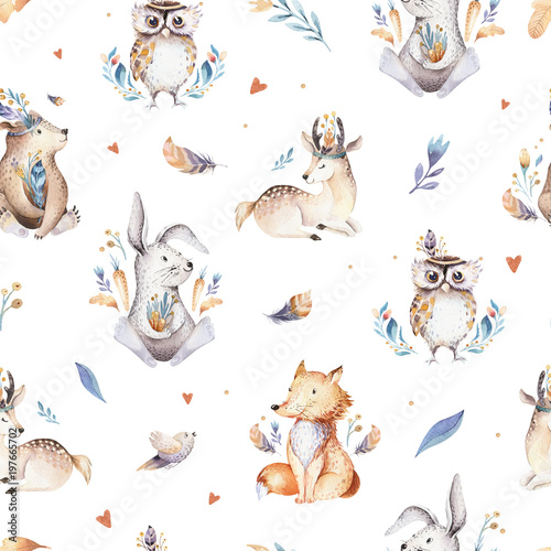 baby-animals-nursery-isolated-seamless-pattern-with-bannies-watercolor-boho-cute-baby-fox-deer-animal-woodland-rabbit-and-bear-isolated-illustration-for-children-bunny-forest-image