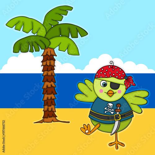Foto op Plexiglas Uilen cartoon Green bird pirate on treasure island