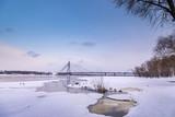 Moscow bridge in Kiev over the Dnieper in winter