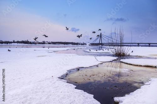 Foto op Plexiglas Kiev Moscow bridge in Kiev over the Dnieper in winter