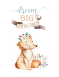 Cute bohemian baby cartoon fox animal for kindergarten, woodland nursery isolated decoration forest illustration for children forest animals pattern. Watercolor hand drawn boho set - 197669929