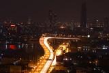 View of bangkok city and road at night