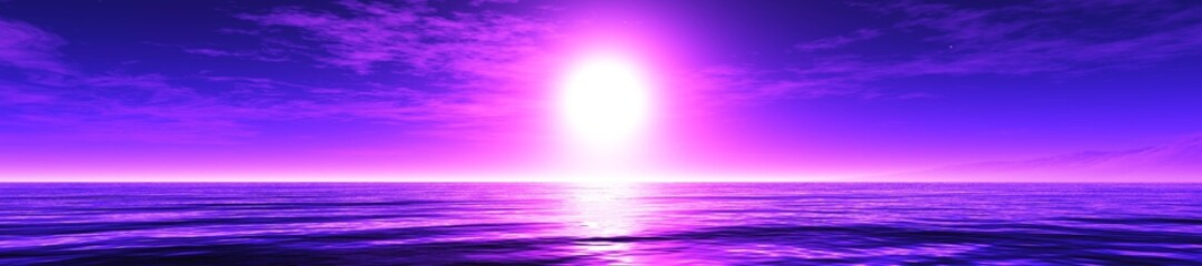 violet sunrise, panorama of the sea sunset