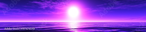 violet sunrise, panorama of the sea sunset 3D rendering  - 197676549