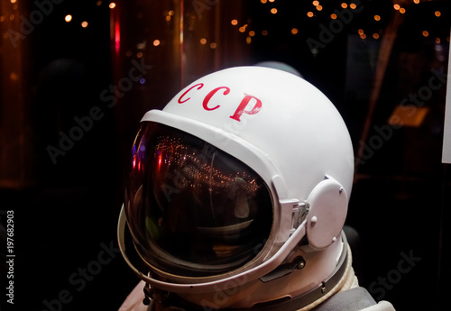 Fotobehang UFO Soviet astronaut in shadow, isolated. Cosmonaut's space suit, USSR,Gagarin