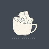 Doodle cup of coffee with whipped cream. Hand drawn cafe logo