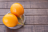 Passion fruit granadilla on the table - Passiflora ligularis