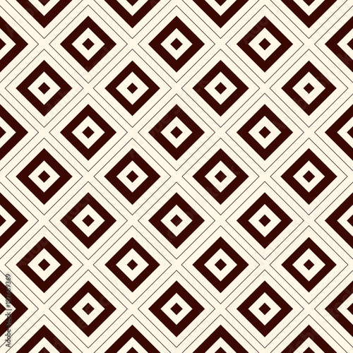 Outline seamless pattern with geometric figures. Repeated squares and rhombuses ornamental abstract background.