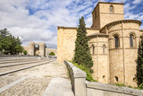 Basilica of San Vicente and the city wall in Avila city, Spain - 197690384