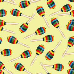 Seamless pattern with striped mexican maracas. Mariachi music wallpaper. Vector