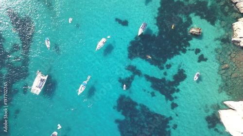 Foto Murales Aerial view from drone of a stunning beach in Menorca (Baleares)