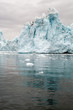 Giant icebergs and ice mountains on the west coast of Greenland in the Arctic Ocean