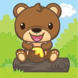 The bear is eating honey.