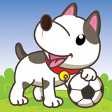 Dog playing soccer, cute vector