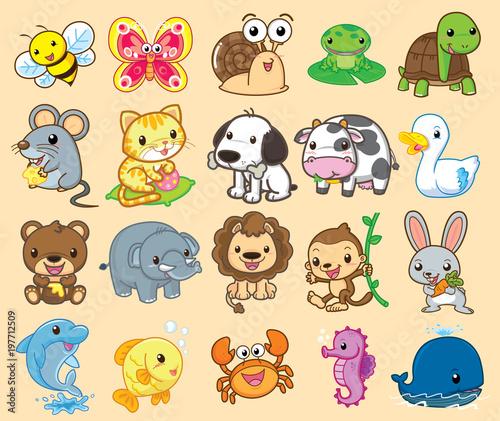 20 Animals, cute vector - 197712509