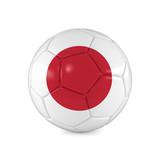 Fußball mit Japan Flagge auf weißem Hintergrund - 197713368