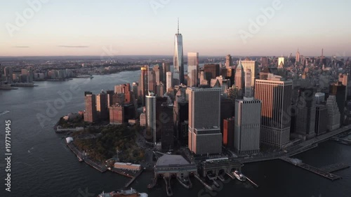 New York City daytime aerial view of Lower Manhattan and the Staten Island Ferry