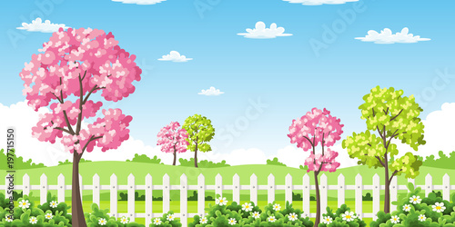 Fotobehang Pool Sping landscape with trees, flowers and fence