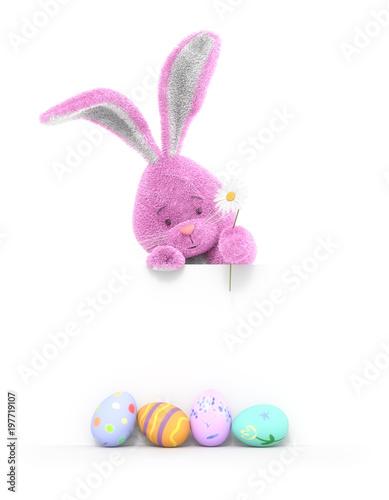 Śmieszny królik i Wielkanocni jajka w wiosna czasie