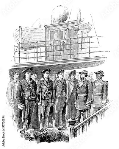 Appell der Matrosen auf einem Kriegsschiff