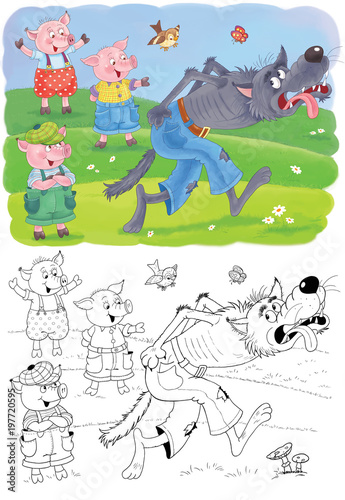Three little pigs. Fairy tale. Coloring book. Coloring page. Illustration for children. Cute and funny cartoon characters - 197720595
