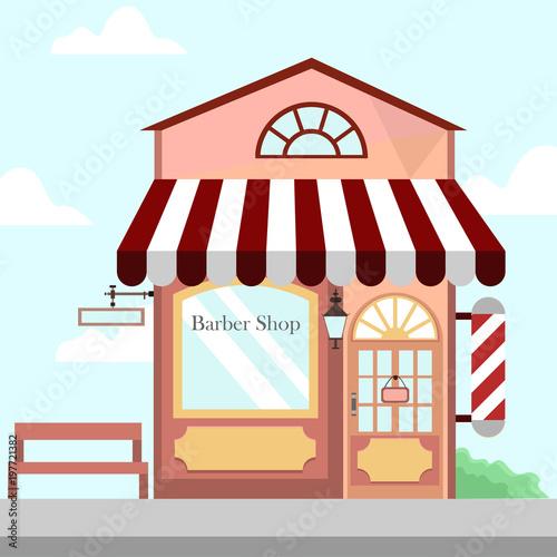 Barbershop Store Front Building Background Illustration