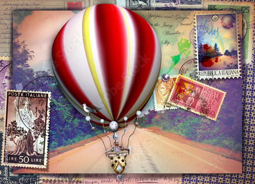 Keuken foto achterwand Imagination Vintage postcard with avenue, hot air balloon and old stamps