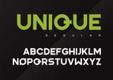 Unique vector bold industrial typeface design, uppercase letters - 197728121
