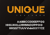 Unique vector grunge textured industrial display typeface, upper