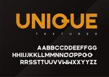 Unique vector grunge textured industrial display typeface, upper