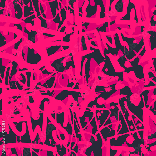 Vector graffiti seamless pattern with abstract colorful bright t