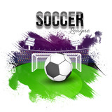 Soccer League concept with goal post, soccer ball, playing ground. Grunge background. - 197734187