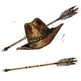 Cowboy Hat with Indian Arrow. Watercolor Illustration.  - 197737391