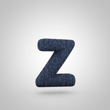Jeans letter Z lowercase with blue denim texture isolated on white background.
