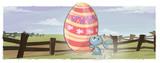 conejo corriendo con huevo de pascua