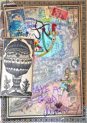 Fotobehang Imagination Vecchie e misteriose carte con mappe,disegni e carte da gioco dei tarocchi