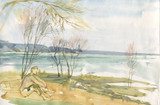 spring on the river watercolor