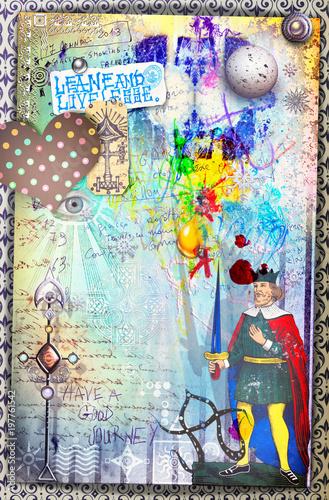 Fotobehang Imagination Murales con graffiti,simboli,disegni ritagli,patchworks e collages esoterici