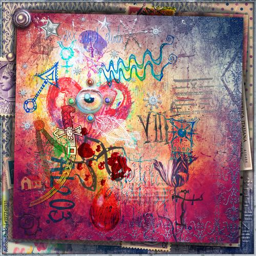 Fotobehang Imagination Murales con graffiti,simboli,disegni esoterici e cuore