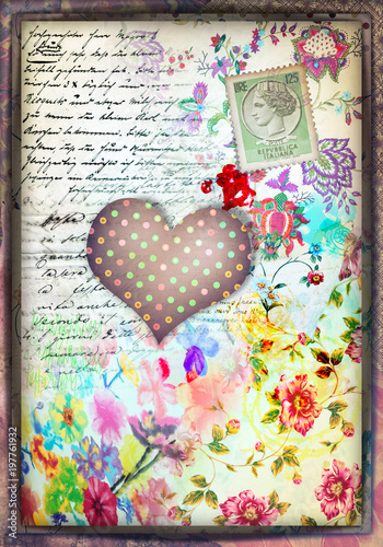Fotobehang Imagination Murale con cuore a pois,graffiti,simboli,disegni ritagli,patchwork e collage